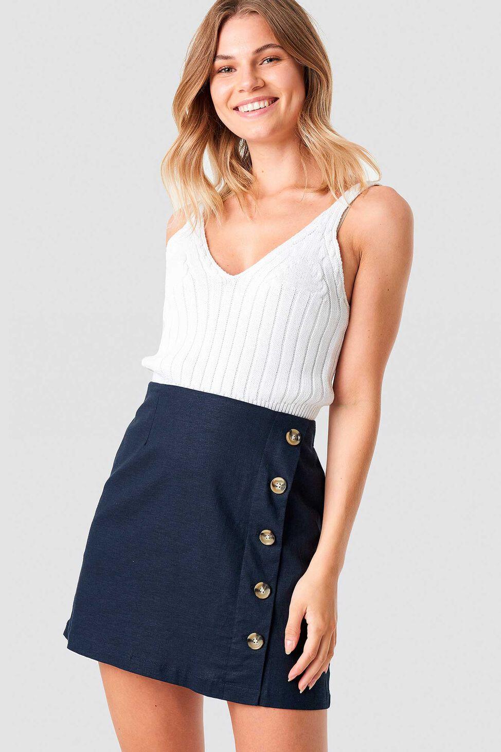 Linen Look Button 1100-001256, BLUE