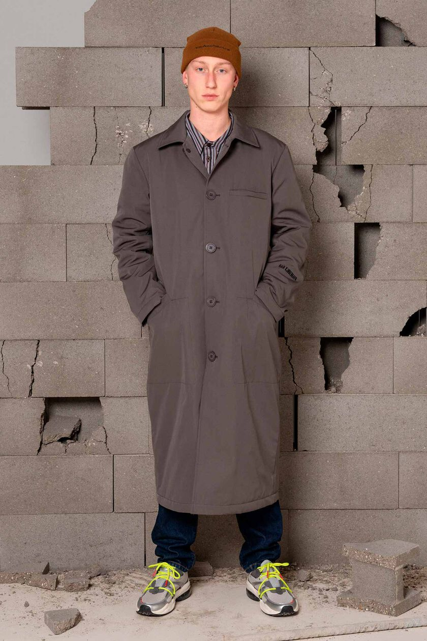 Square coat M-120083, GREY COTTON