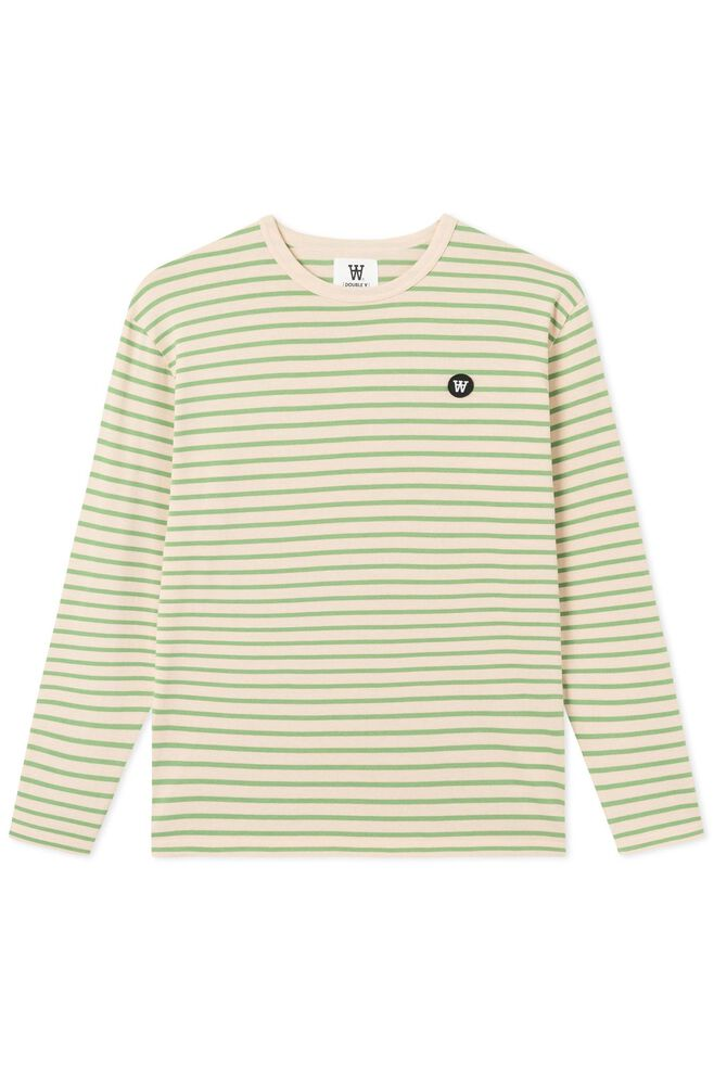 Mel long sleeve 10925402-2323, OFF-WHITE/GREEN STRIPES
