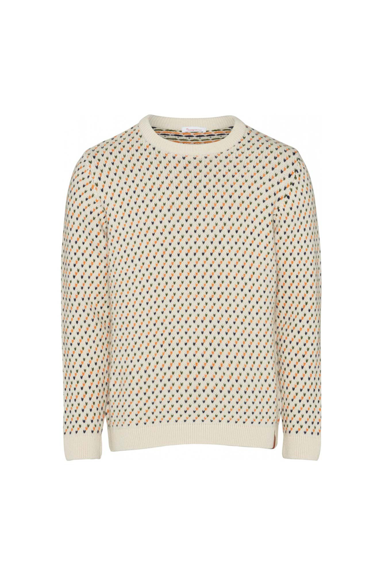 Jacquard o-neck knit 80569, WINTER WHITE