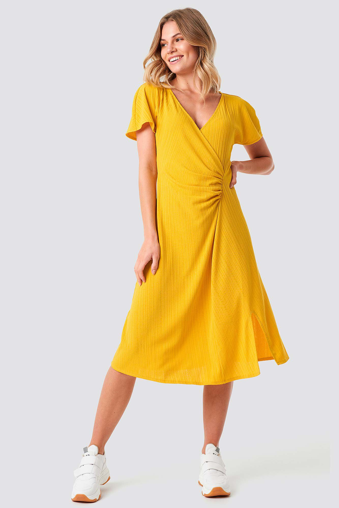 Drape V-neck Midi 1100-001257, YELLOW