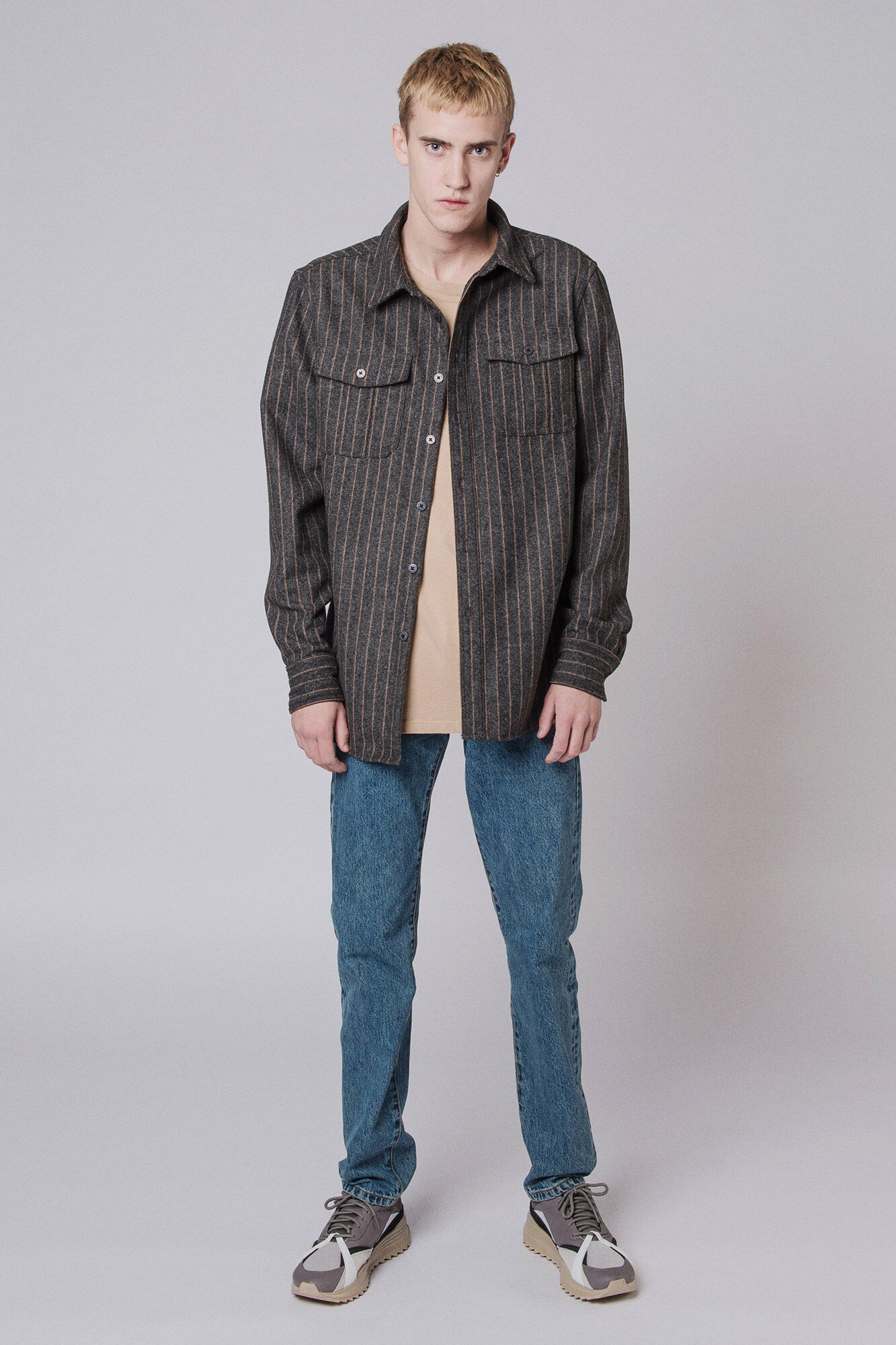 Garden shirt M-90103, GREY STRIPE LOGO