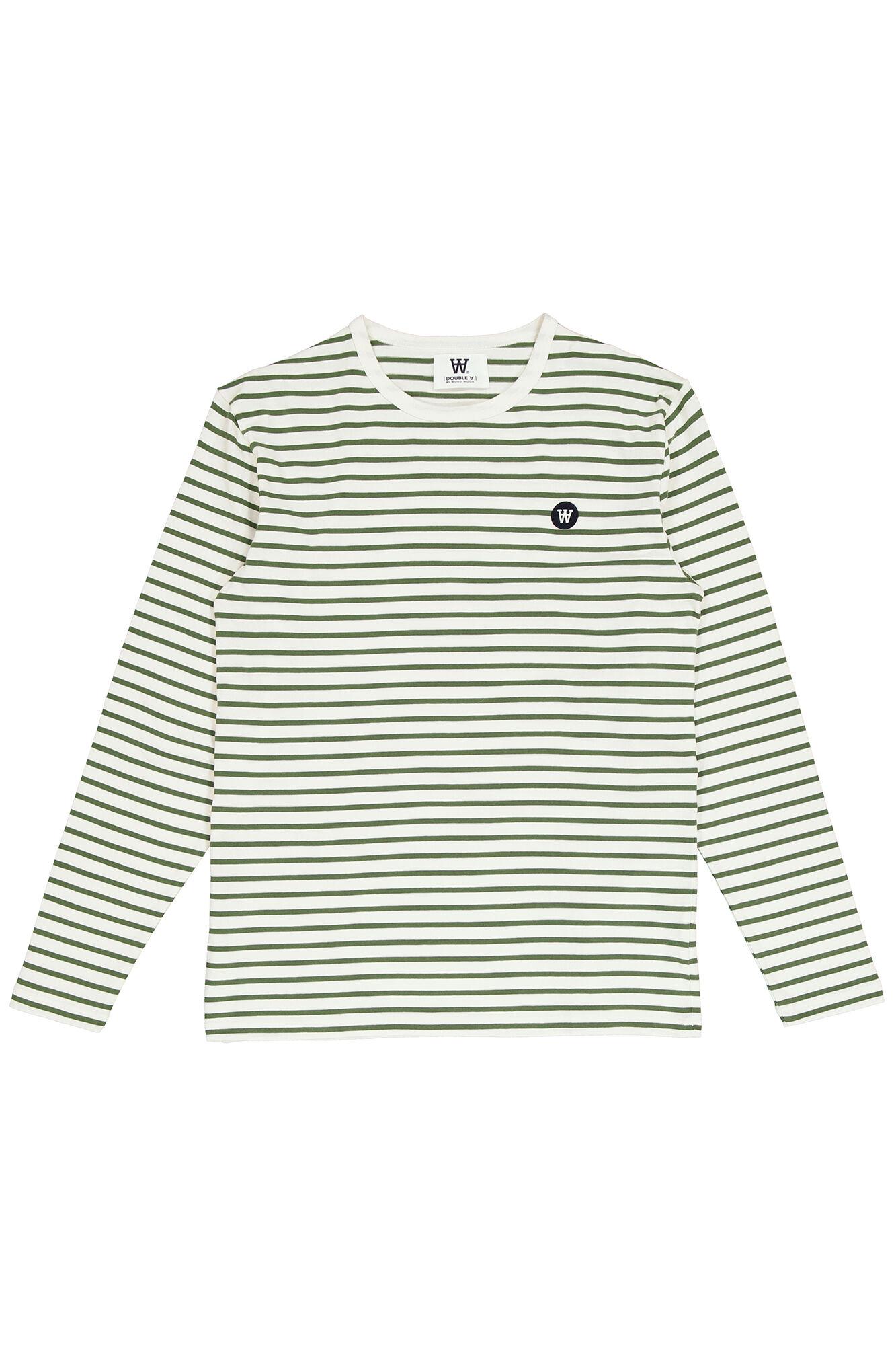 Mel long sleeve 10915404-2323, OFF-WHITE/GREEN STRIPES
