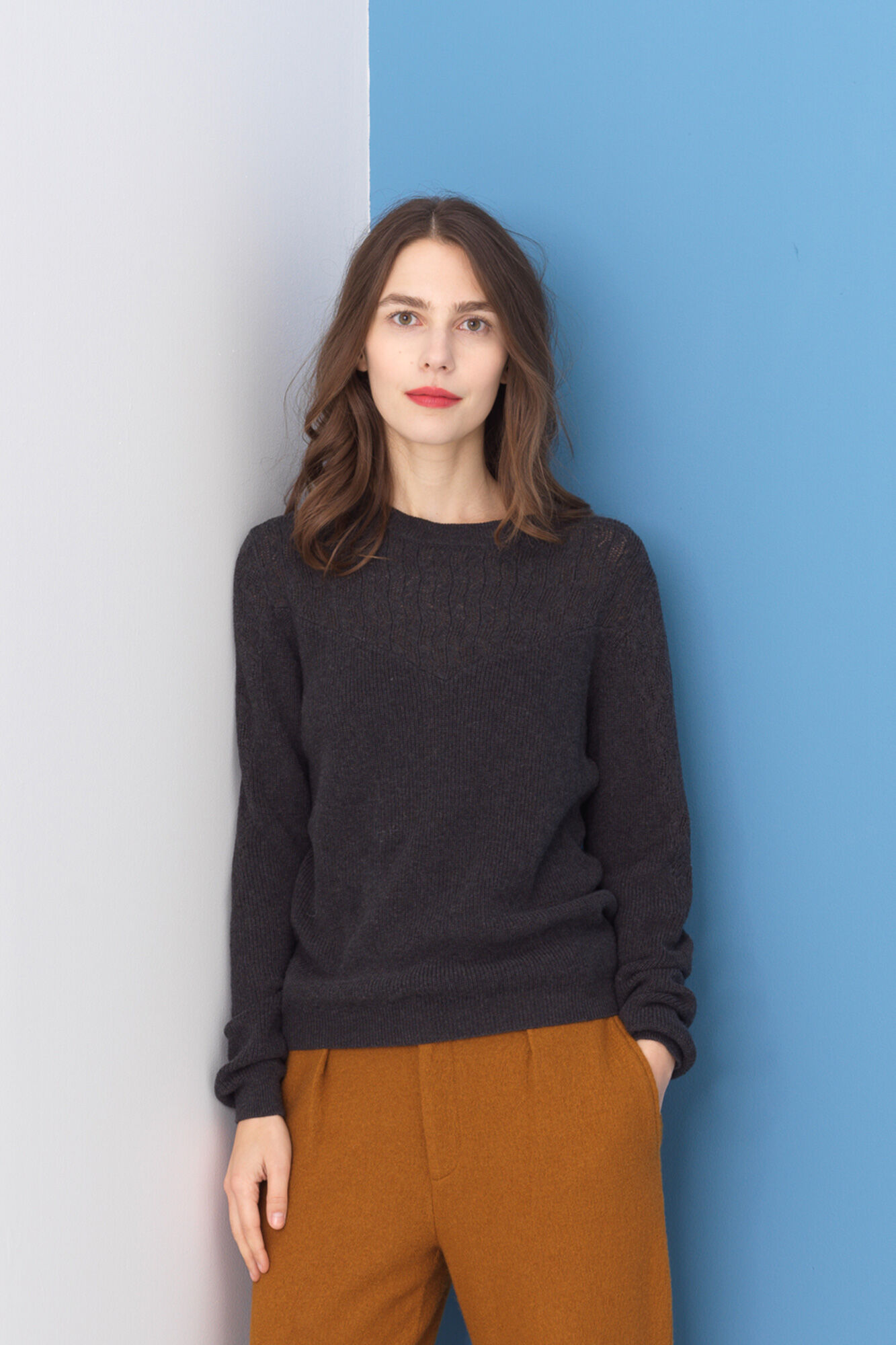 Floral Eyelet Sweater 2792, CHARCOAL