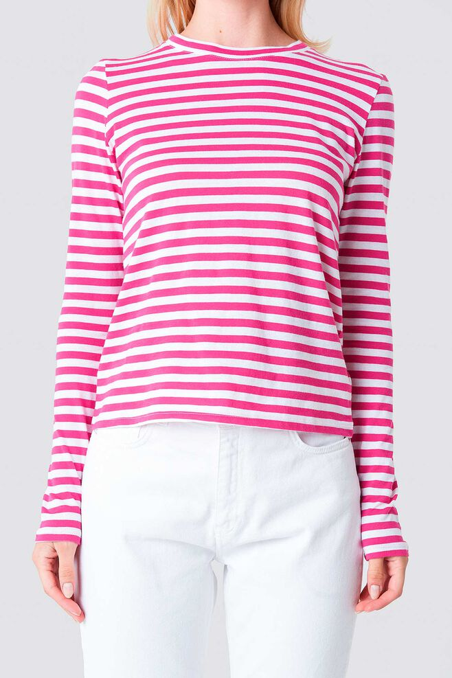 Long Sleeve Stripe 1100-000864, PINK/WHITE