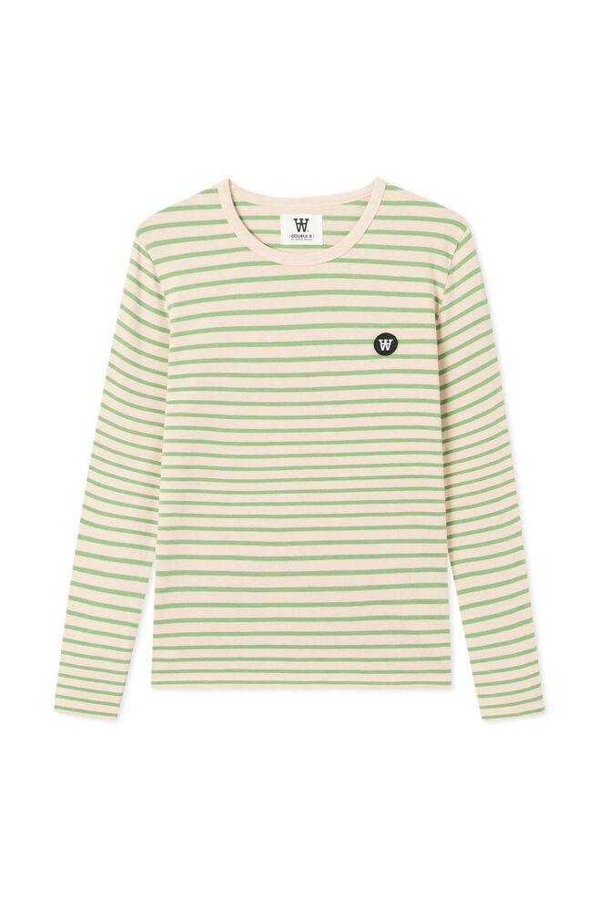 Moa long sleeve 10921500-2323, OFF-WHITE/GREEN STRIPES