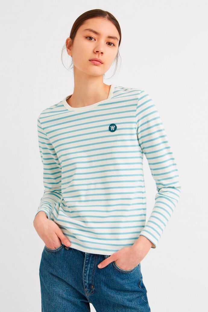 Moa long sleeve 10931500-2323, OFF-WHITE/BLUE STRIPES