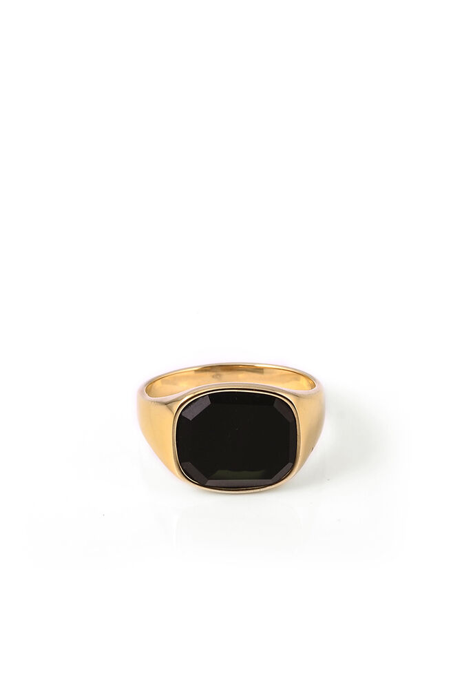 Himsel, GOLD - SQUARE BLACK ONYX STONE