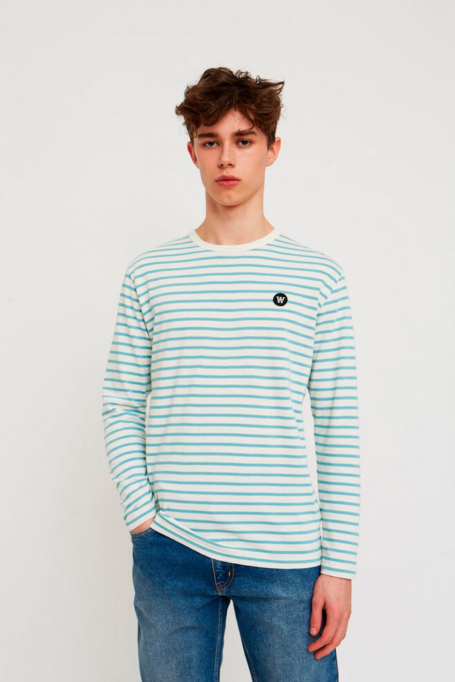 Mel long sleeve 10935402-2323, OFF-WHITE/BLUE STRIPES