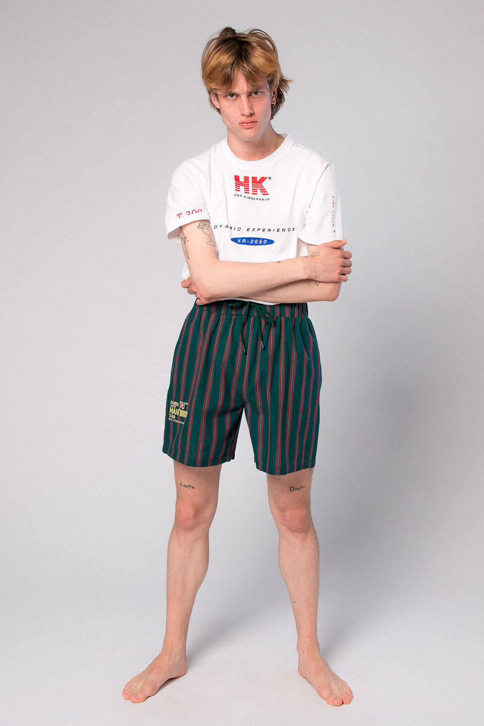 Track Shorts M-110078, GREEN STRIPE
