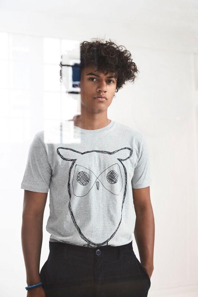 Single jersey with owl 10184, GREN MELANGE