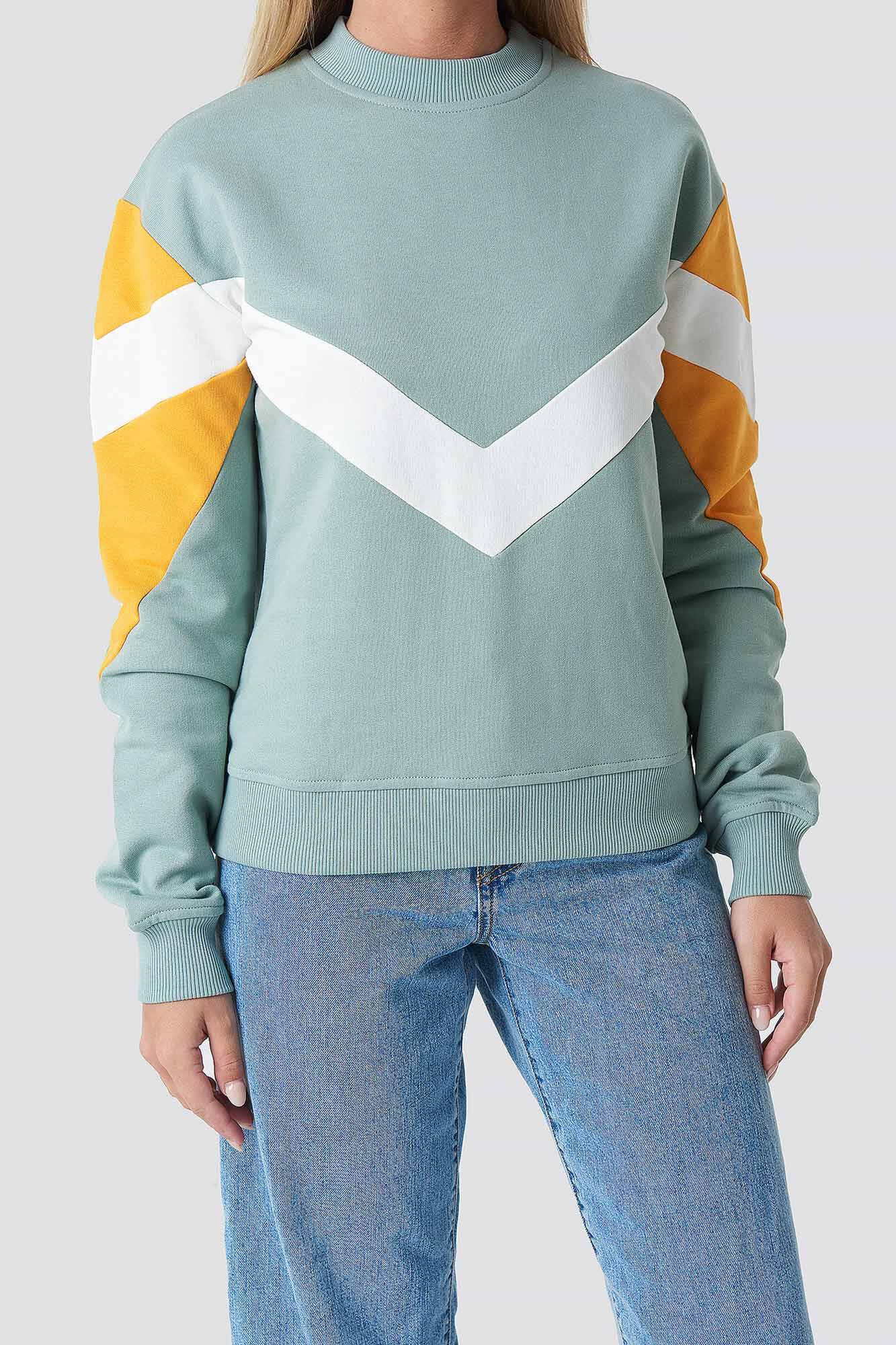 Blocked Sweater 1100-001030, DUCK GREEN