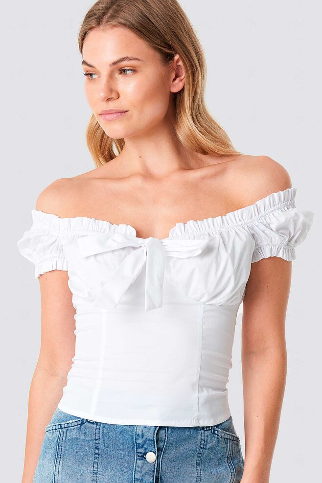 Ruffle Frill Top 1100-001191, WHITE