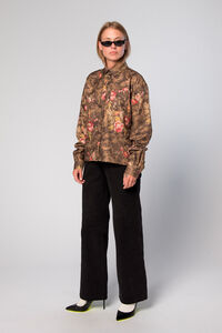 Box Shirt F-110014, BROWN FLOWERS
