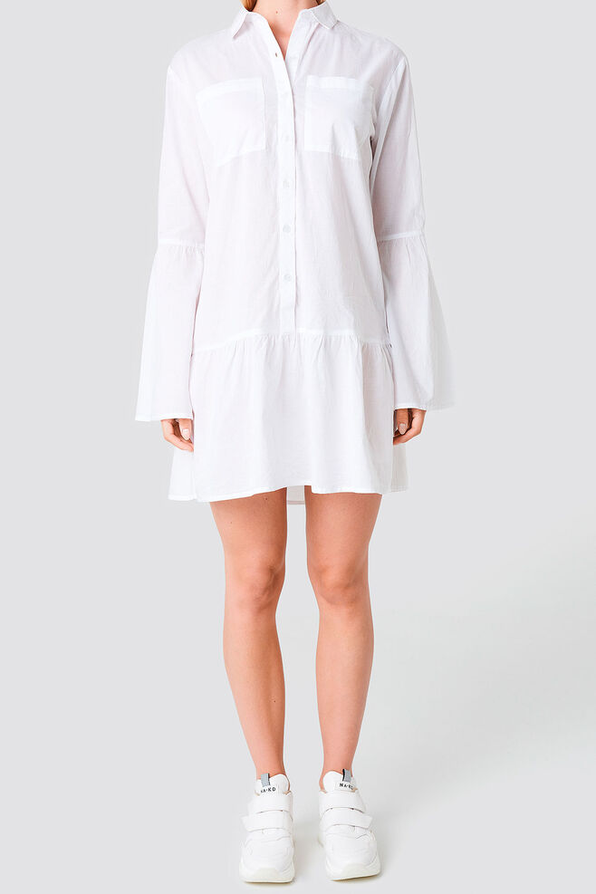 Pocket Shirt Dress 1100-000884, WHITE