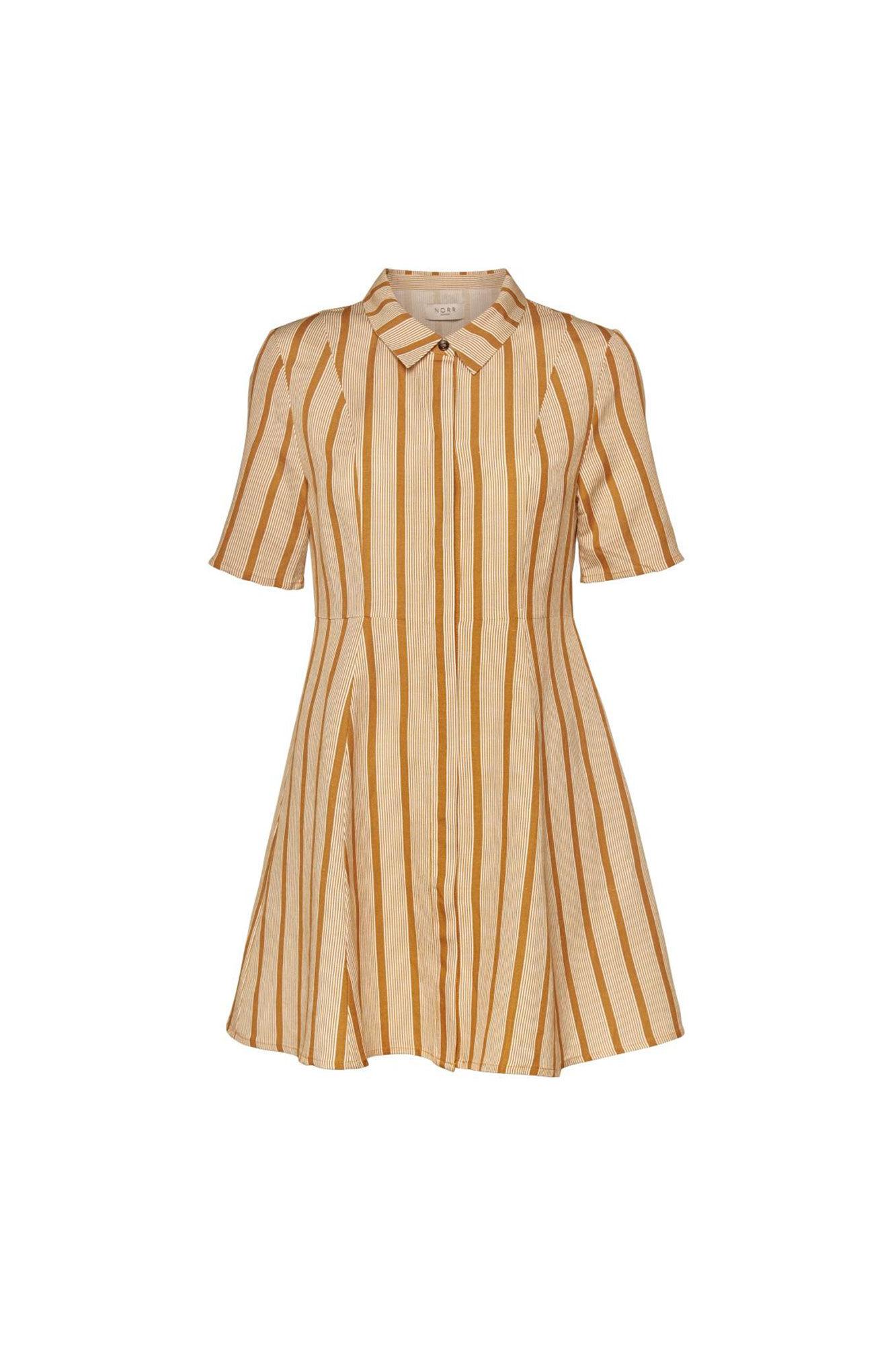 Amira dress 11861273, GOLDEN BROWN/WHITE STRIPE
