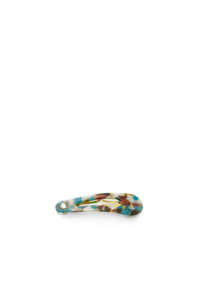 Oval clip w. stone, GREEN