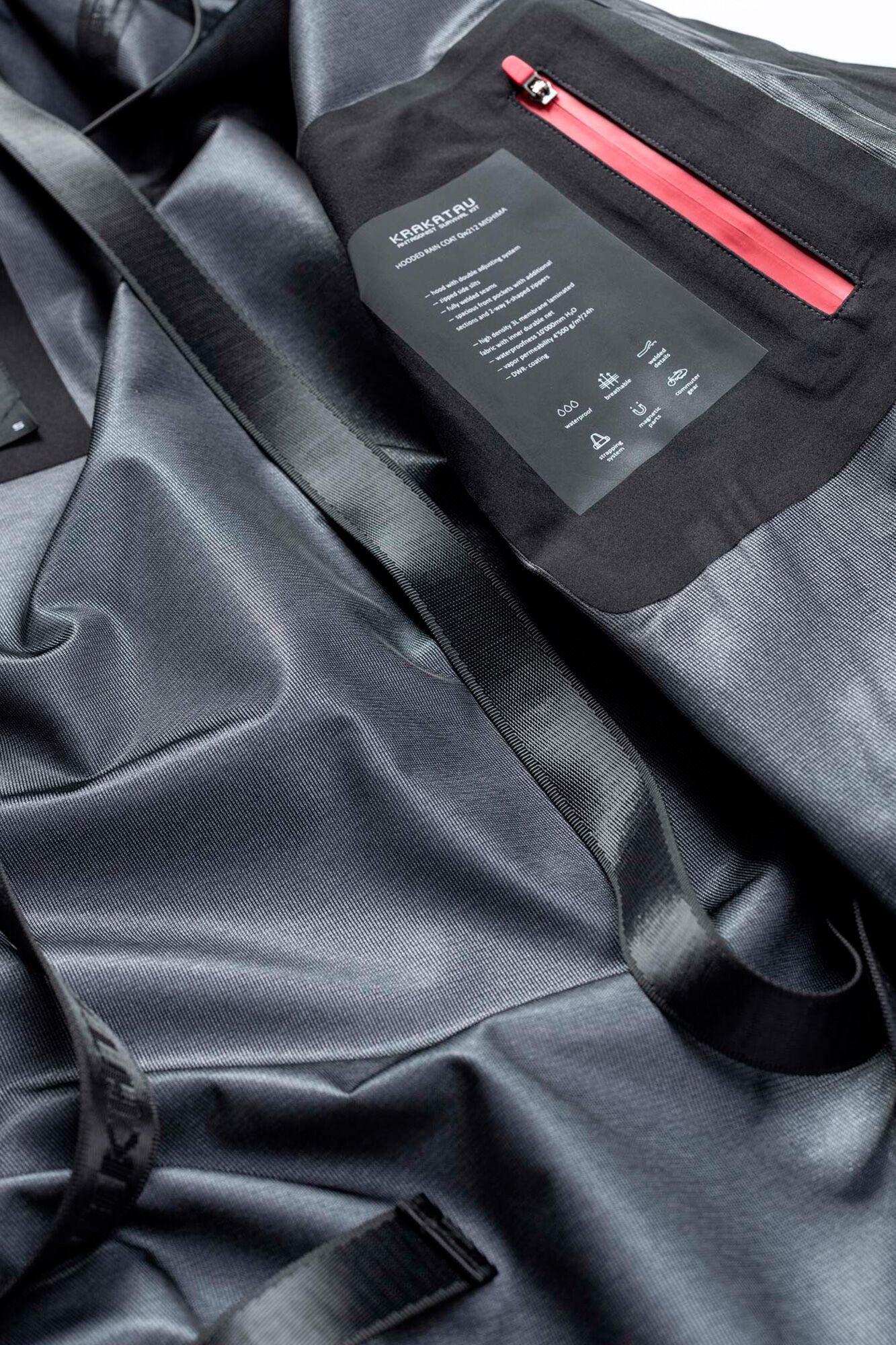 Hooded rain coat QW212, BLACK