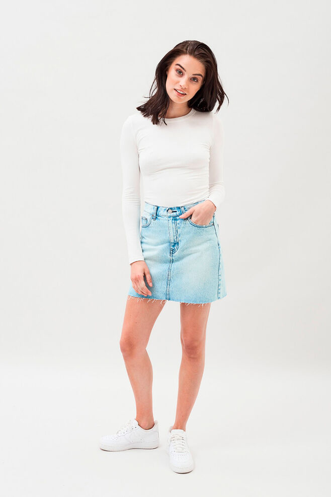 Mallory denim skirt, BLEACHED VINTAGE BLUE