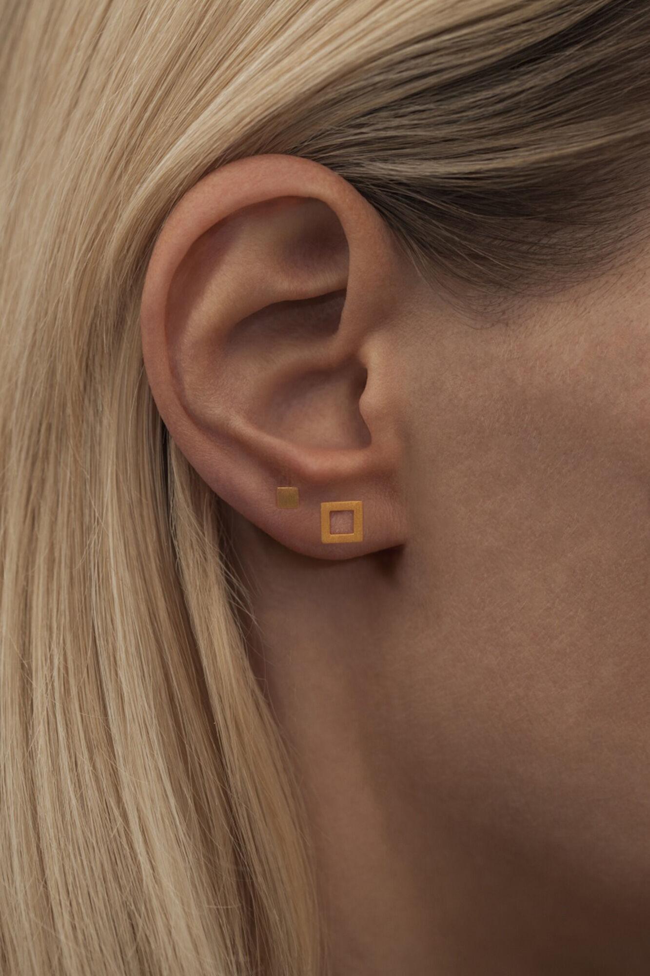 Family Ear Studs LULUE065, GOLD PLATED MATTE