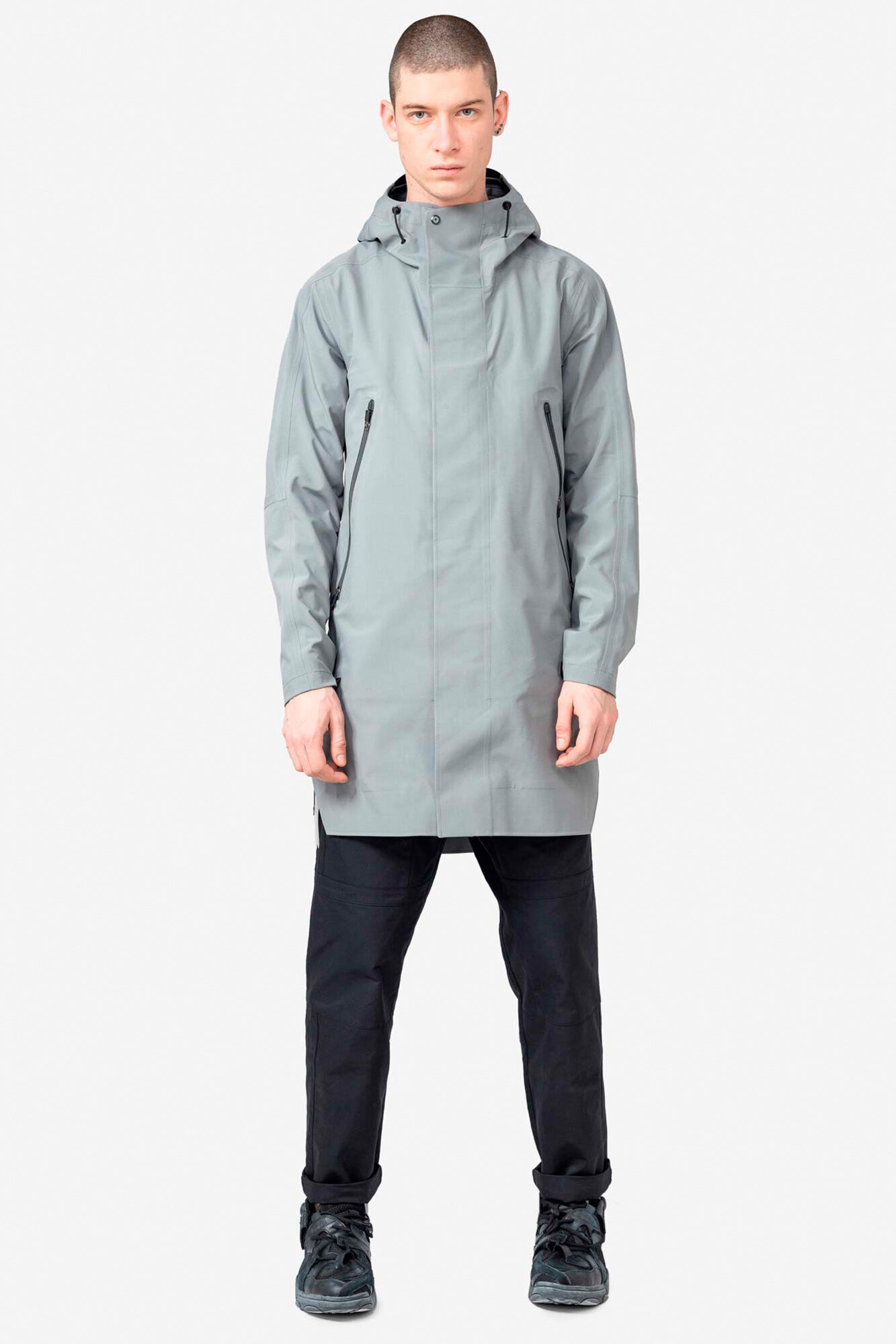 Hooded rain coat QM211, LIGHT GREY