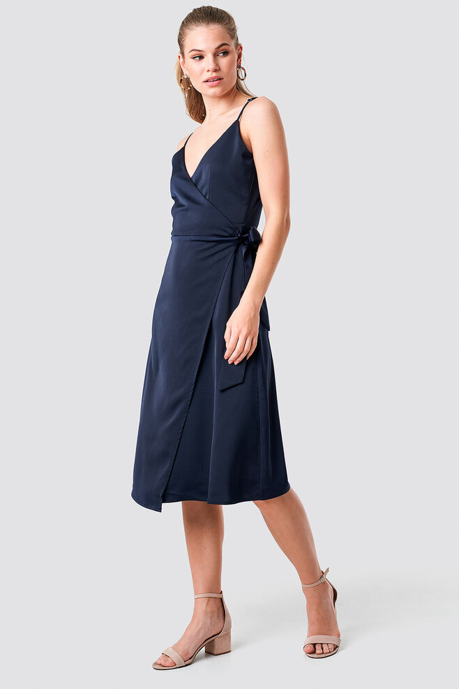 Wrapped midi dress 1100-001550, DARK NAVY