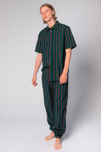 Boxy Shirt M-110009, GREEN STRIPE