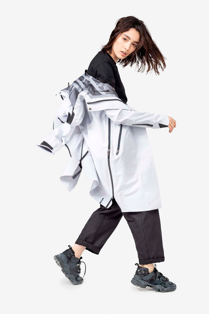 Hooded rain coat QW212, OFF-WHITE