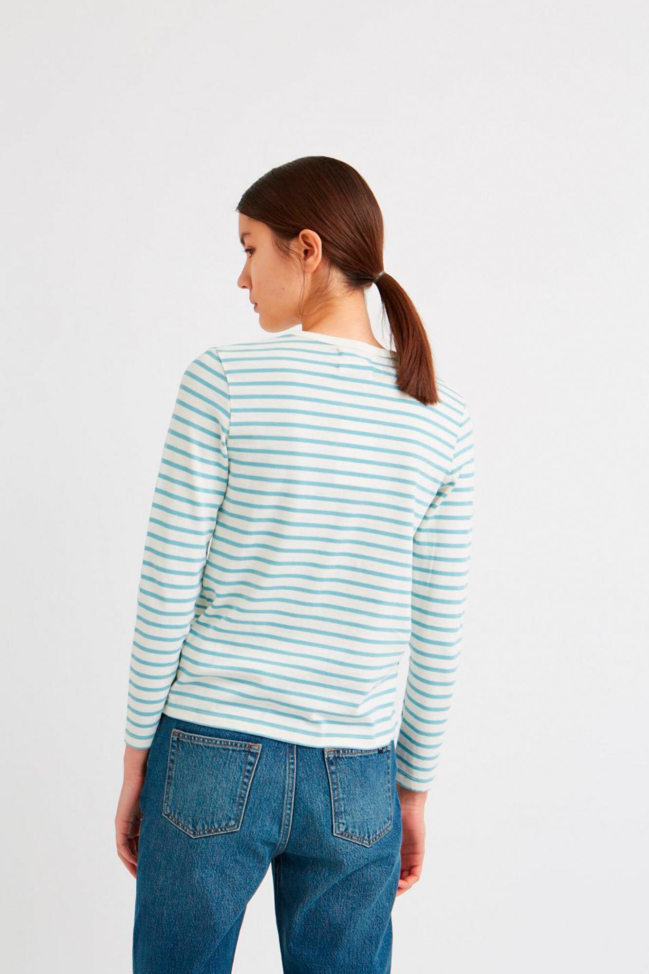 Moa long sleeve 10931500-2323, OFF-WHITE/BLUE STRIPES