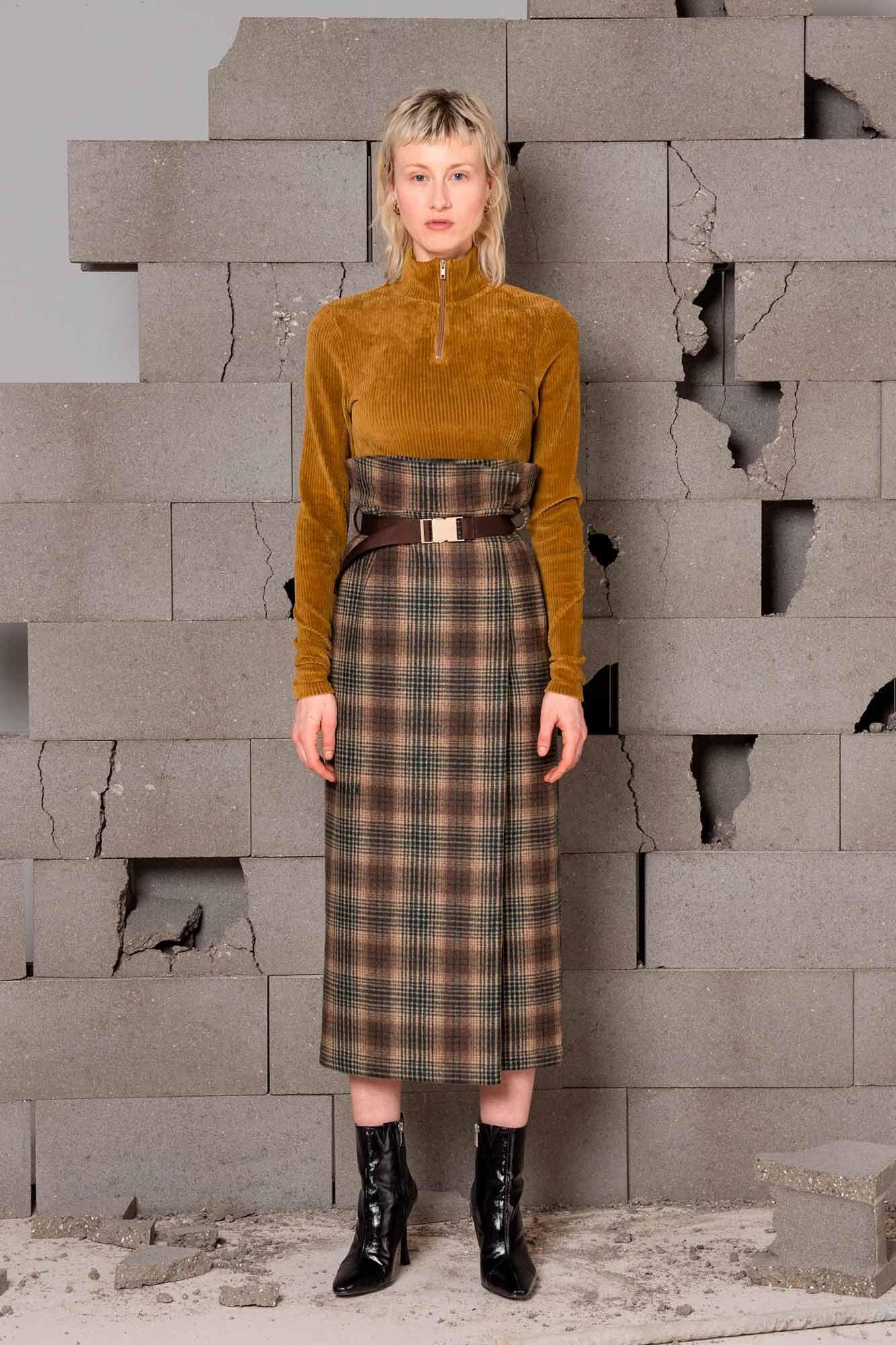 Buckle skirt f-120051, NAVY PINSTRIPE