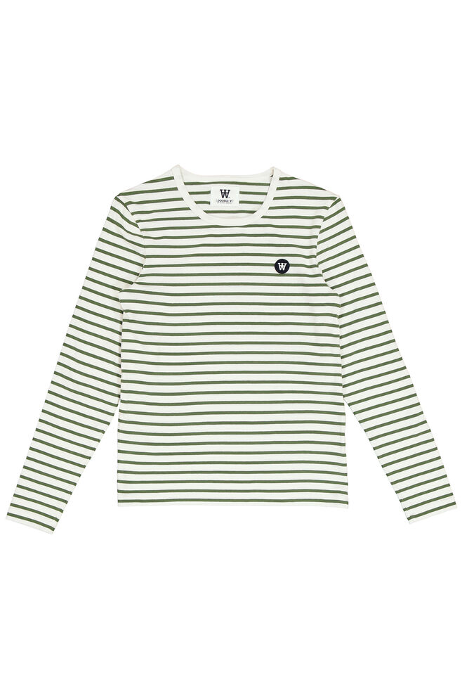 Moa long sleeve 10911501-2323, OFF-WHITE/GREEN STRIPES