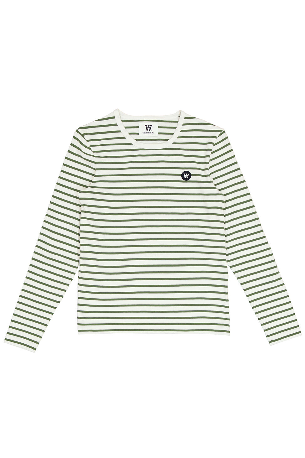 Moa long sleeve 10911501-2323, OFF-WHITE/GREEN STRIPES