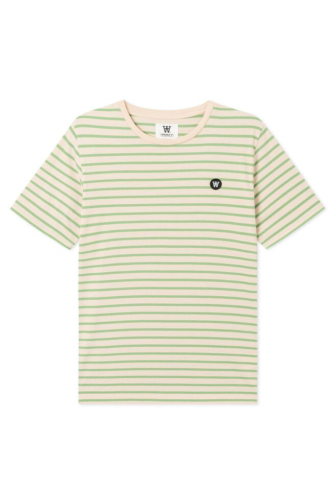 Ace T-shirt 10925700-2222, OFF-WHITE/GREEN STRIPES