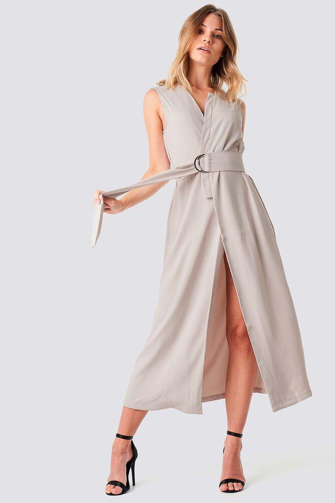 Belted Vest Dress 1100-001320, LIGHT SAND