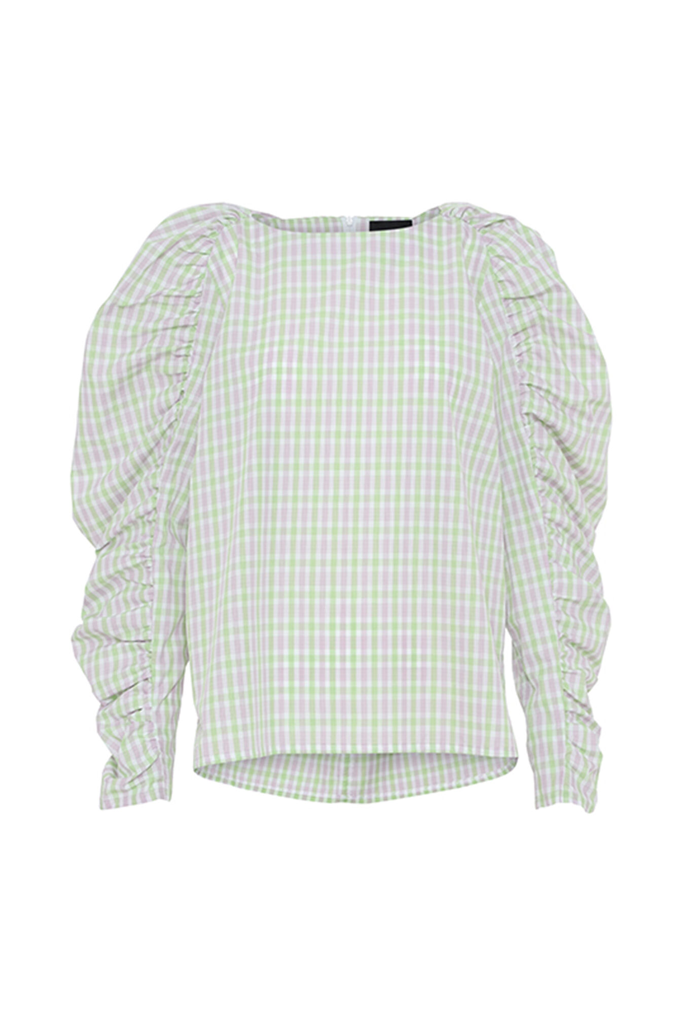 Puff Blouse 3121541, GREEN CHECKS